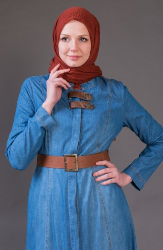 MISS VALLE Belted Jeans Coat 8989-01 Blue Jeans 8989-01