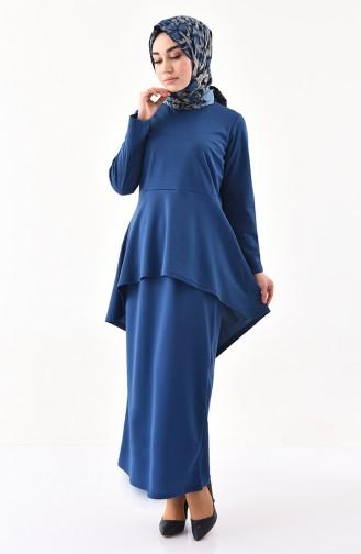 Asymmetric Tunic Skirt Double Suit 2727-06 Indigo 2727-06