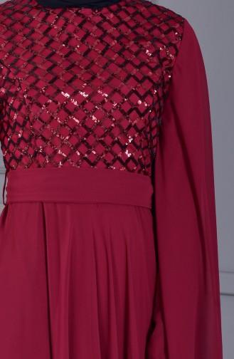 BURUN  Sequined Evening Dress 81668-03 Bordeaux 81668-03