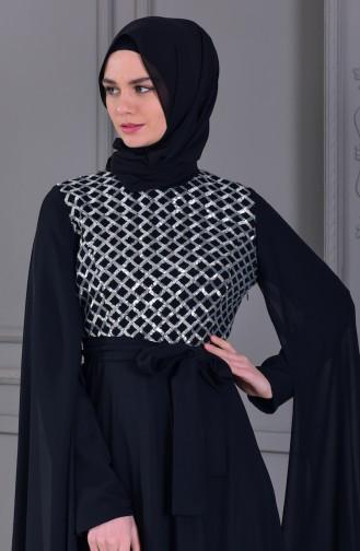Payetli Abiye Elbise 81668-06 Siyah Gümüş