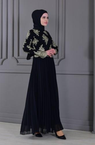 Robe de Soirée a Dentelle 8504-02 Noir 8504-02