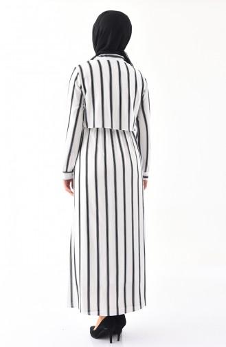 Robe a Rayure 0302-02 Blanc 0302-02