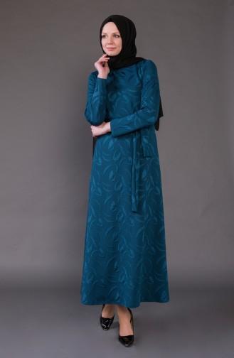 Jacquard Kleid mit Gürtel 1123-02 Petroleum 1123-02