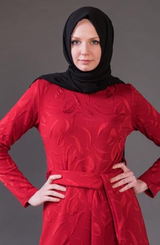 Jacquard Kleid mit Gürtel 1123-03 Rot 1123-03