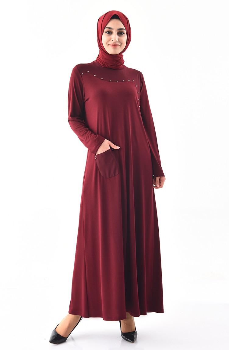 7fb8cdd4d13d3 Büyük Beden İnci Detaylı Elbise 1139-01 Bordo