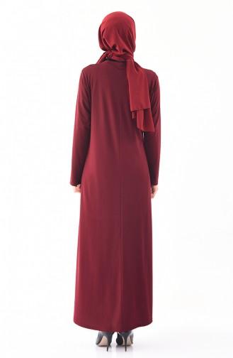 Robe Perlées Grande Taille 1139-01 Bordeaux 1139-01