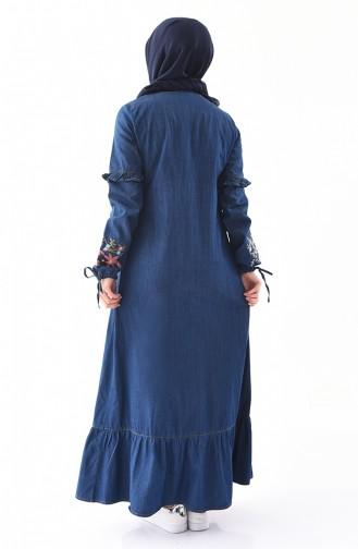 Nakışlı Kot Elbise 6124-01 Lacivert
