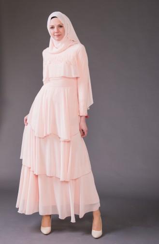 Dantel Detaylı Şifon Elbise 5595-04 Somon