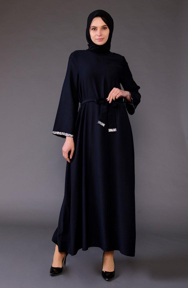 c3296c8799cea Payet Detaylı Kuşaklı Elbise 5603-02 Siyah