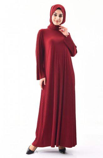 Large Size Flared Dress 5849-05 Claret Red 5849-05