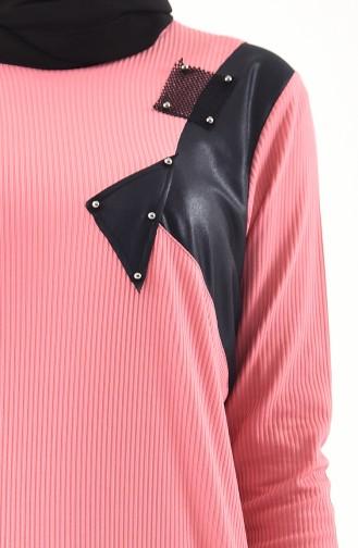ميتيكس تونيك بتصميم مُزين بتفاصيل وبمقاسات كبيرة 1124-05 لون وردي باهت 1124-05