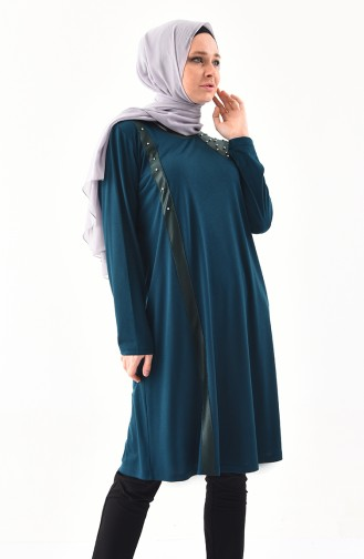 METEX Large Size Pearls Tunic 1128-02 Petrol 1128-02