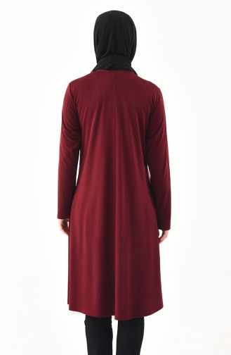 METEX Large Size Pearls Tunic 1128-06 Claret Red 1128-06