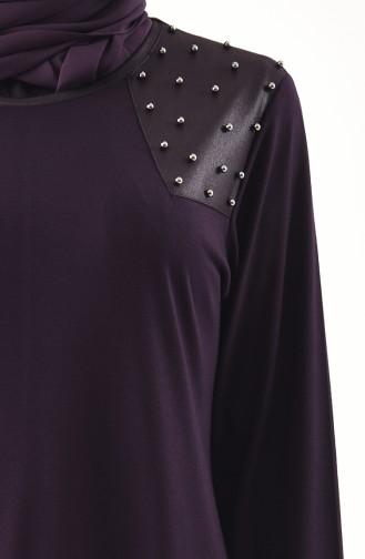 METEX Large Size Pearls Tunic 1128-07 Purple 1128-07
