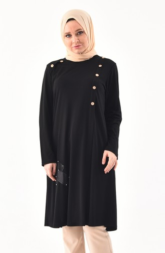 METEX Large Size Button Detailed Tunic 1129-01 Black 1129-01