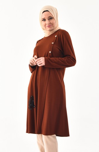 METEX Large Size Button Detailed Tunic 1129-02 Taba 1129-02