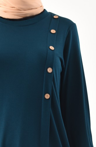 METEX Large Size Button Detailed Tunic 1129-03 Petrol 1129-03