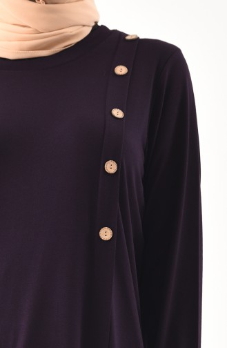 METEX Large Size Button Detailed Tunic 1129-04 Purple 1129-04