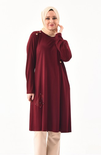 METEX Large Size Button Detailed Tunic 1129-05 Claret Red 1129-05