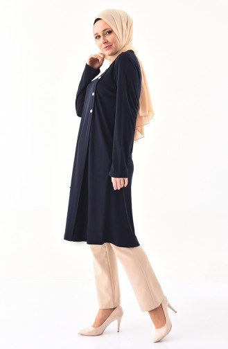 METEX Large Size Button Detailed Tunic 1129-06 Navy Blue 1129-06