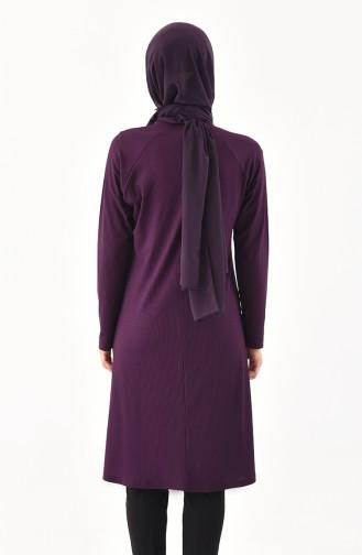 Large Size Reglan Sleeve Tunic 1140-02 Purple 1140-02