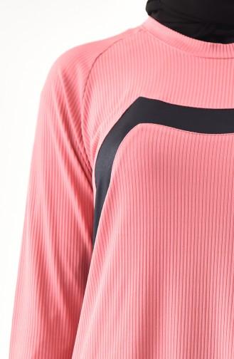 ميتيكس تونيك بتصميم مُزين بتفاصيل و بمقاسات كبيرة 1141-01 لون وردي باهت 1141-01