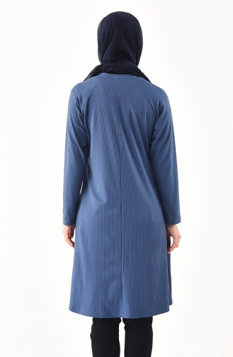 METEX Large Size Garnished Tunic 1141-02 Indigo 1141-02