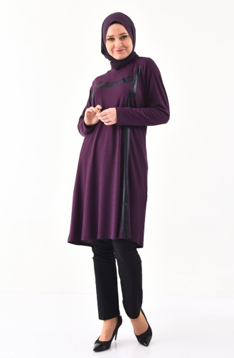 METEX Large Size Garnished Tunic 1141-04 Purple 1141-04