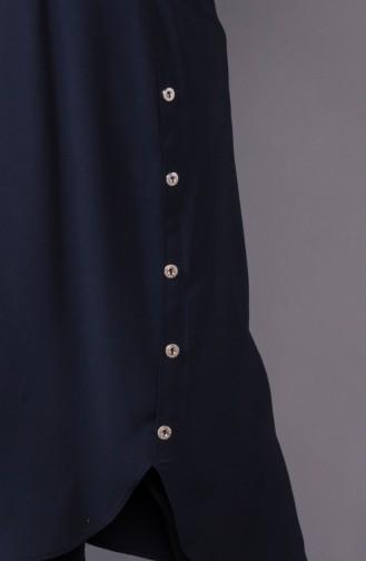 Buttons Detailed Asymmetric Tunic 3161-01 Lacivert 3161-01