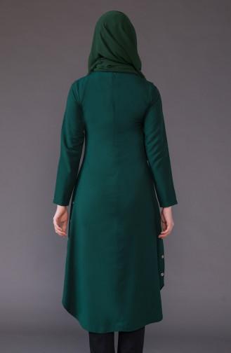 Knopf Detaillierte asymmetrische Tunika 3161-05 Smaragdgrün 3161-05