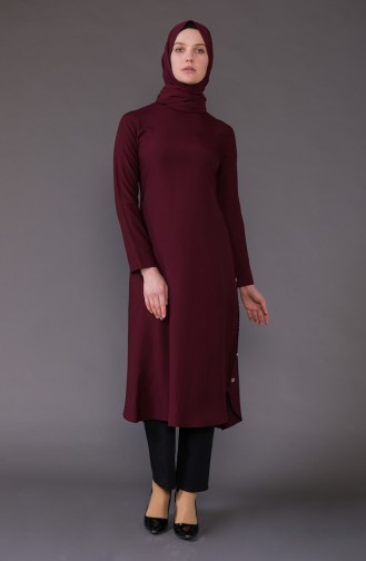 Buttons Detailed Asymmetric Tunic 3161-09 Claret Red 3161-09