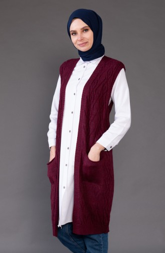 Knitwear Pocket Vest 8110-03 Claret Red 8110-03