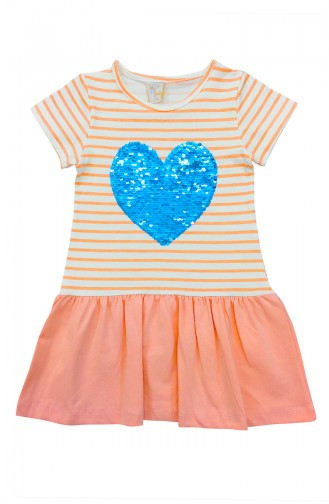 Girls Heart Print Dress   A9550 Salmon 9550