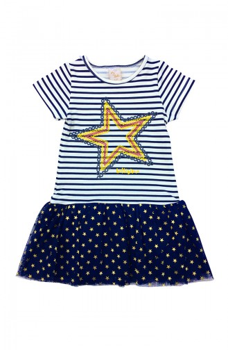 Girl Kids Star Printed Dress A9562 Navy Blue 9562