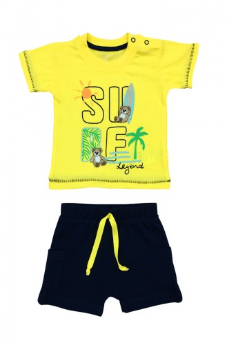 Baby Boy Surf Detailed 2 Pcs Set  A9575 Yellow 9575