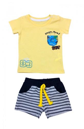 Baby Boy Shark Detailed 2 Pcs Set A9579 Yellow 9579