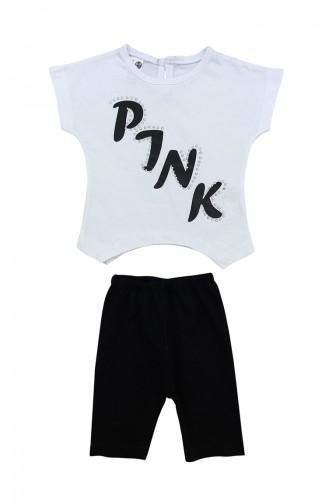 Pink Detaylı Takım A9583 Beyaz