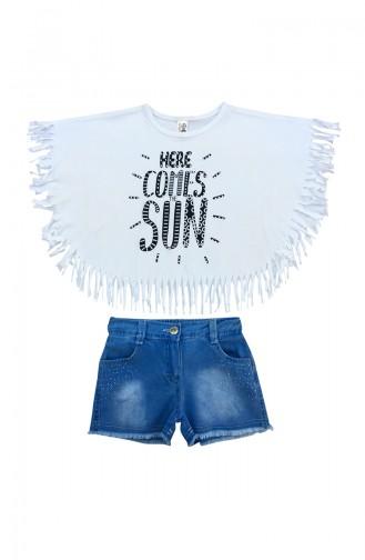 Baby Tasseled T-Shirt & Shorts Set A9586 White 9586