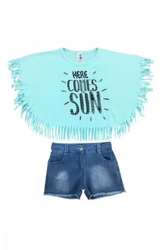 Baby Tasseled T-Shirt & Shorts Set  A9587 Green 9587