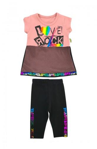 Baby Love Rock Detailed 2 Pcs Set A9591 Pink 9591