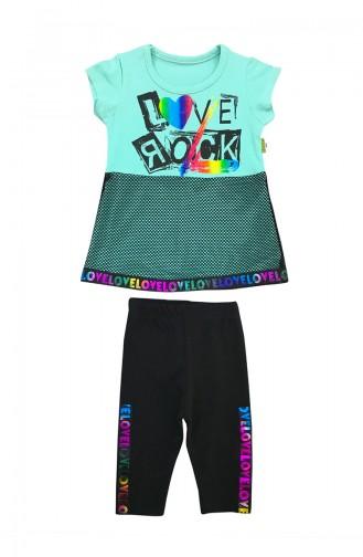 Baby Love Rock Detailed 2 Pcs Set A9593 Green 9593