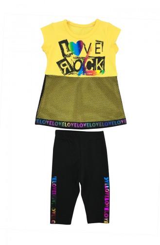 Kids Love Rock Detailed 2 Pcs Set A9594 Yellow 9594