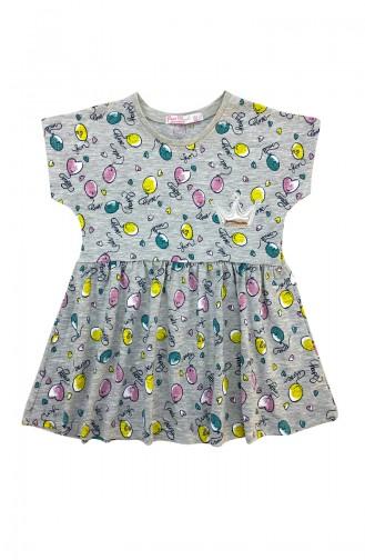 Kız Çocuk Balon Baskılı Elbise A9606 Gri