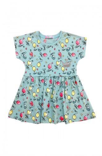 Girl Kids Balloon Printed Dress A9607 Blue 9607