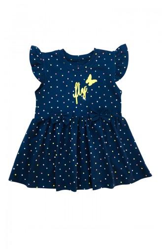 Girl Child Fly Detail Dress A9608 Navy Blue 9608