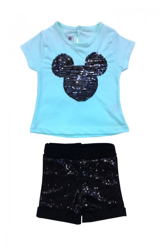 Baby MM Detailed T-Shirt & Sequin Shorts Set A9629 Mint 9629