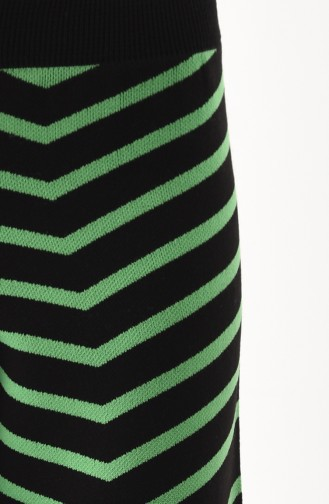 Triko Çizgili Bol Paça Pantolon 1817-01 Siyah Yeşil