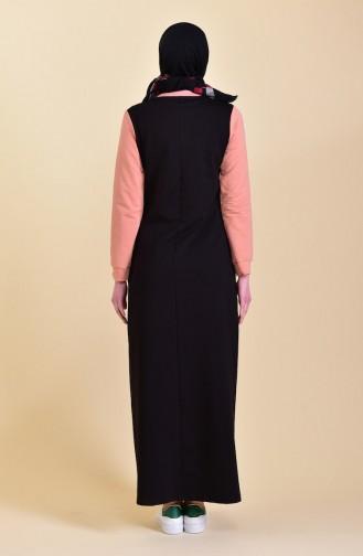 Baskılı Spor Elbise 9026-05 Siyah