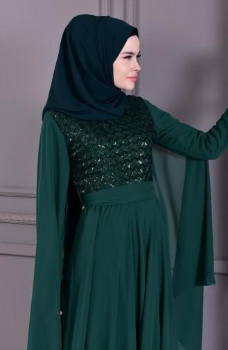 Payetli Abiye Elbise 81668-04 Zümrüt Yeşili