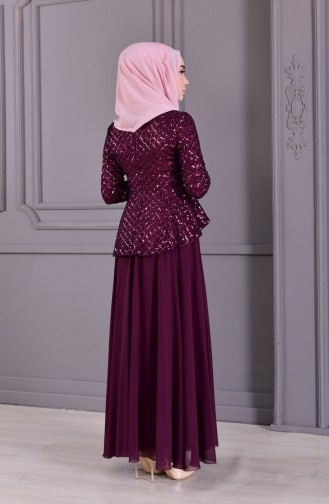 MISS VALLE Sequined Evening Dress 8796-02 Plum 8796-02